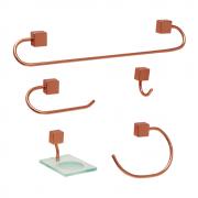 Kit para Banheiro Class Urbana 5 peças Quadrado Rose Gold