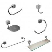 Kit para Banheiro Linha Class 6 peças Quadrado Cromado com Porta-Shampoo de Vidro