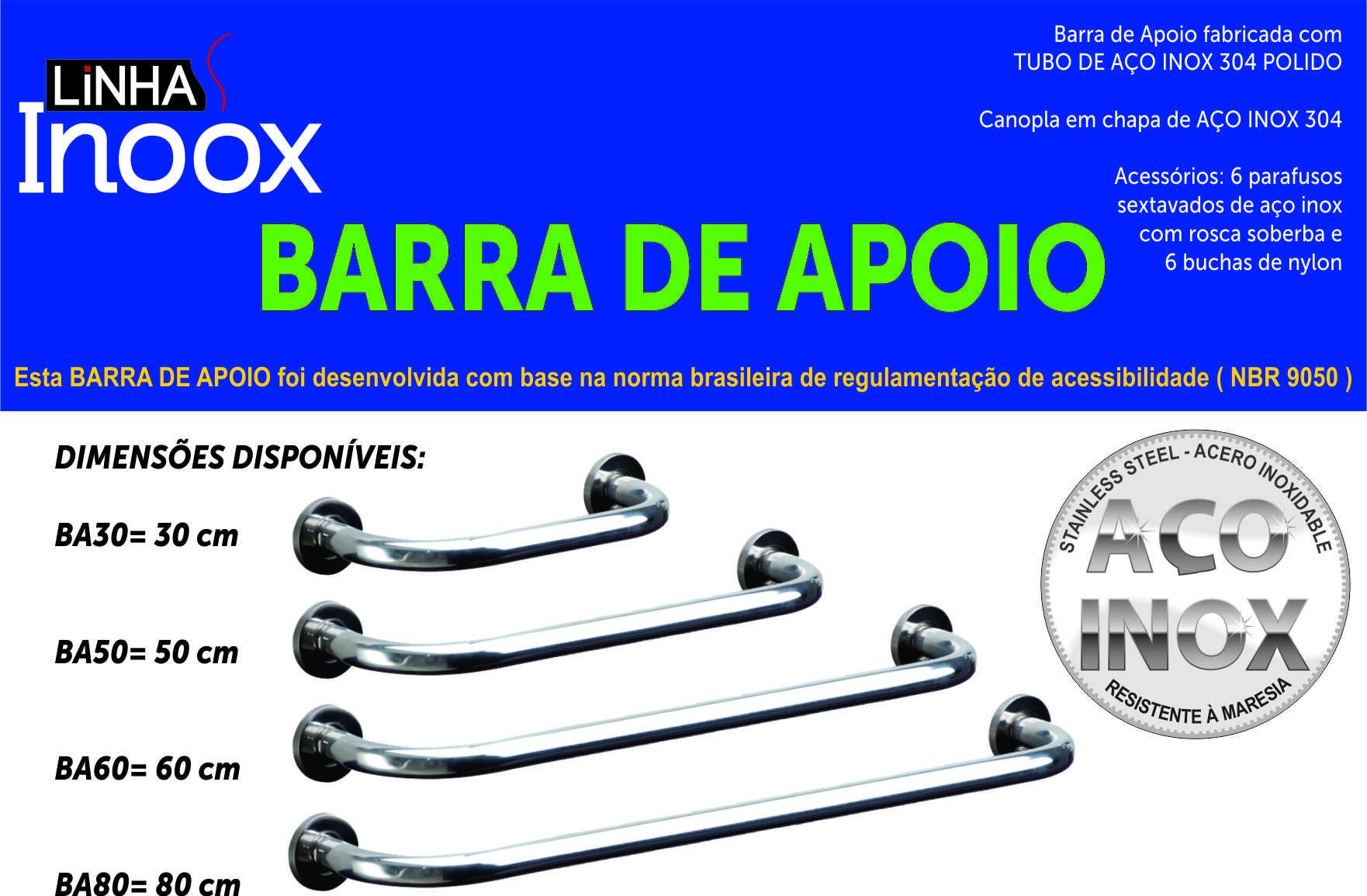 Barra de Apoio Segurança para Banheiro Aço Inox 30 cm