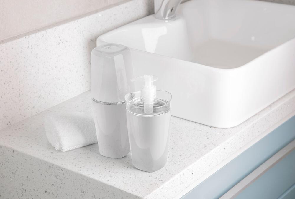 Conjunto para Bancada de Banheiro com Porta Escova Porta Algodão e Sabonete Líquido Branco