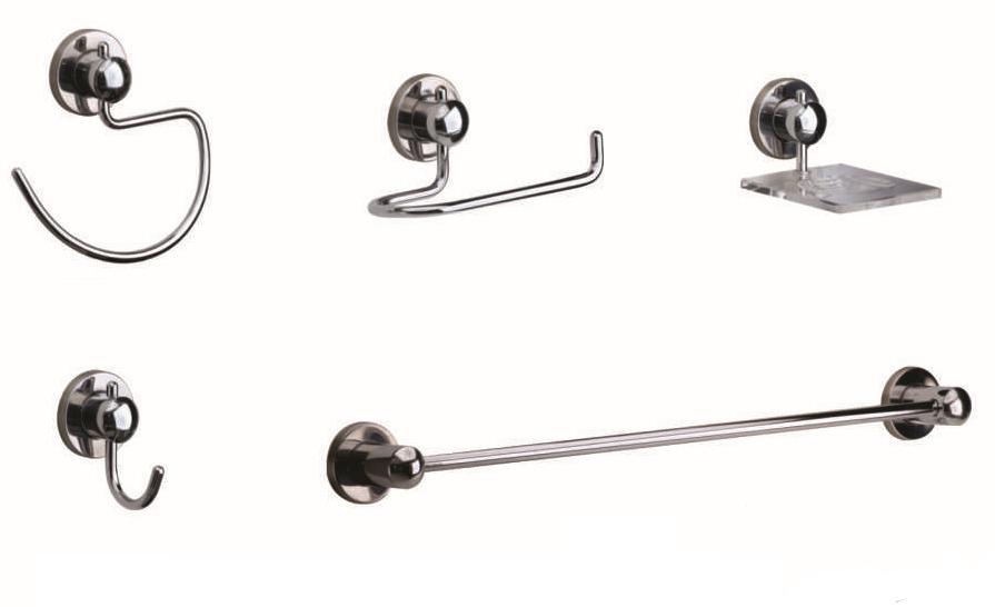 Kit Acessórios Luxo Para Banheiro de Metal Com 5 Peças Suprema