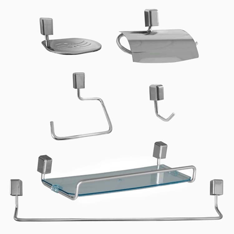 Kit Acessórios para Banheiro com 5 peças + Porta Shampoo 31 cm de Alumínio e Acrílico Linha Città