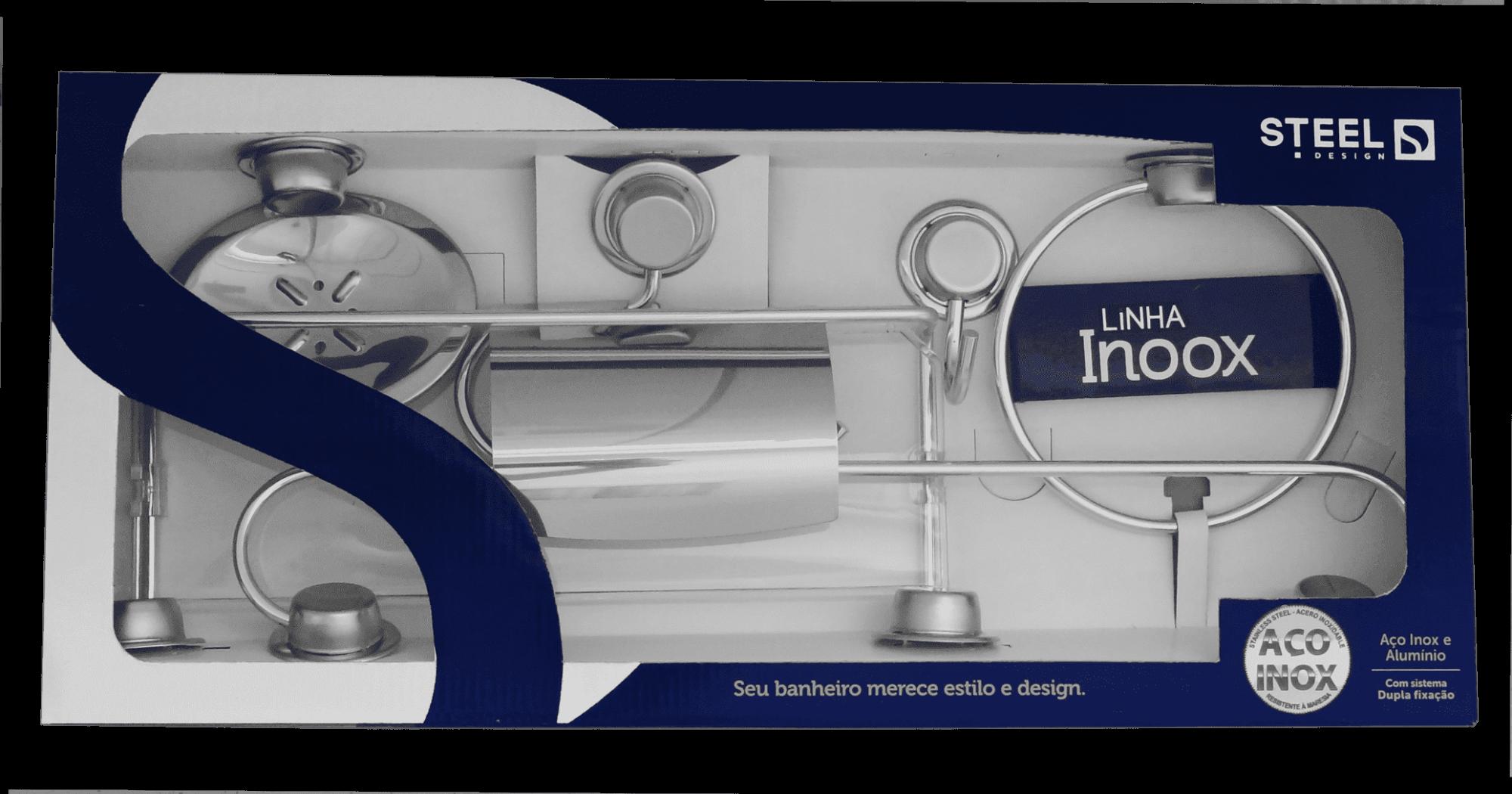 Kit Acessórios para Banheiro de Aço Inox com 6 peças Linha Inoox Steel Design