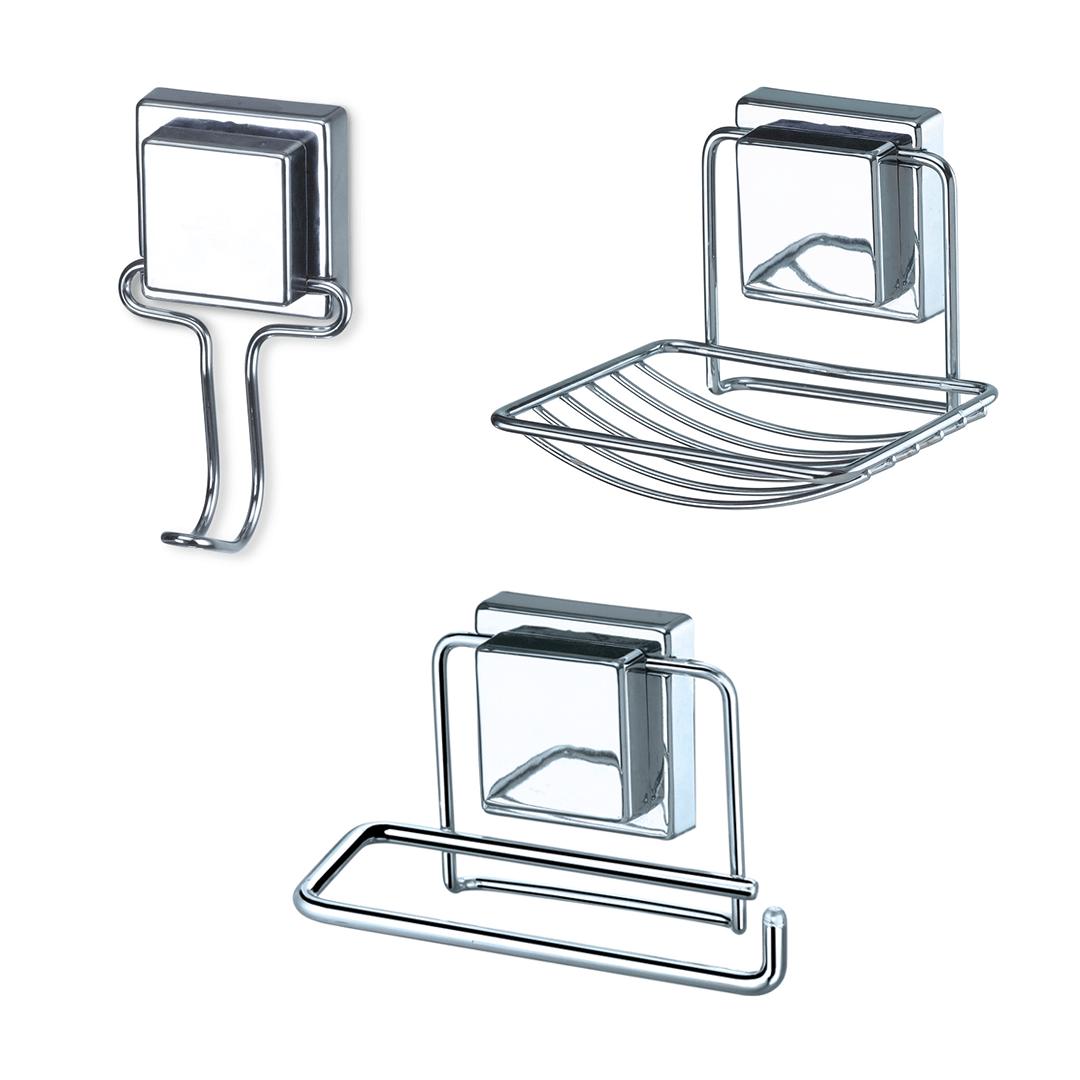 Kit Banheiro com Ventosa 3 Peças Cromado Acabamento Quadrado