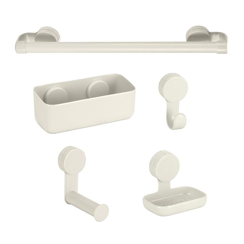 Kit Banheiro com Ventosa + Prateleira Off White Branco Gelo 5 Peças
