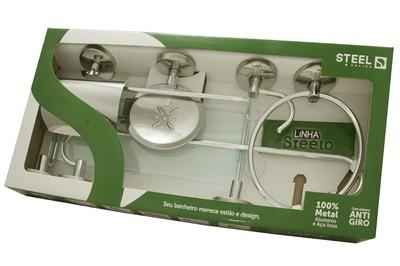 Kit de Acessórios para Banheiro de Alumínio e Aço Inox Linha Steelo 6 peças Redondo