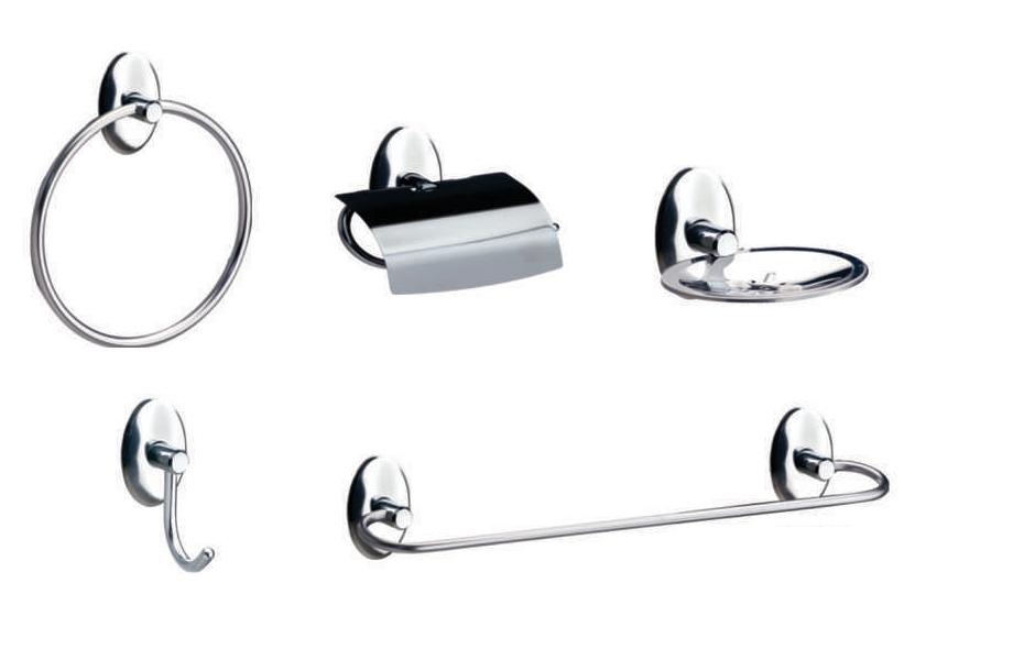 Kit de Acessórios para Banheiro de Metal com 5 Peças Steelo Oval
