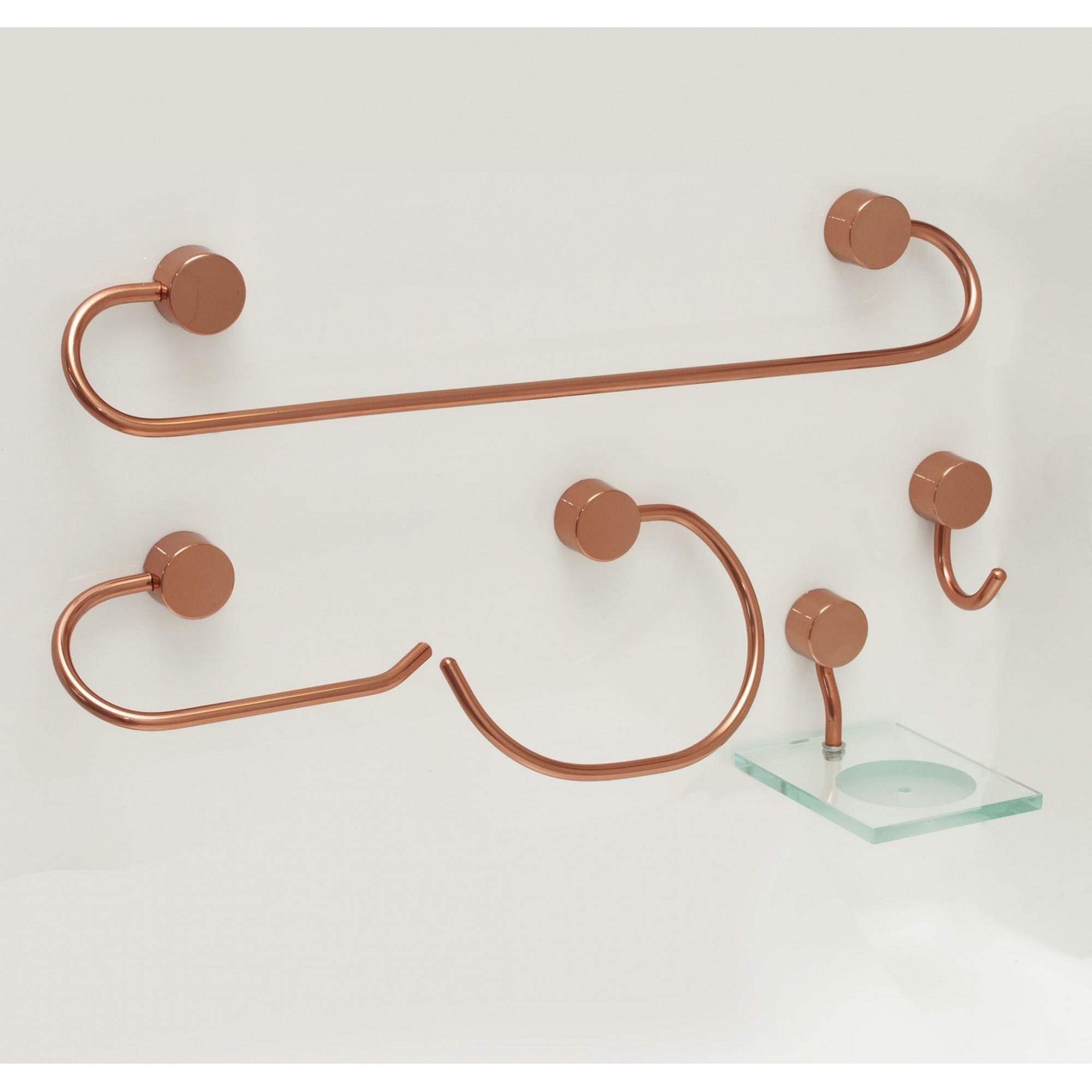 Kit para Banheiro Class Urbana 5 peças Redondo cor Rose Gold