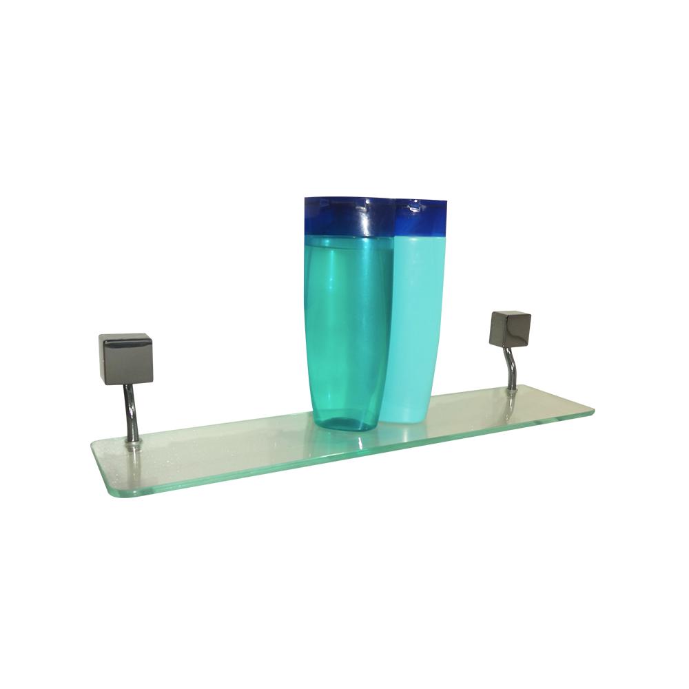 Kit para Banheiro Class Urbana 6 peças Quadrado Onix com Porta-Shampoo de Vidro
