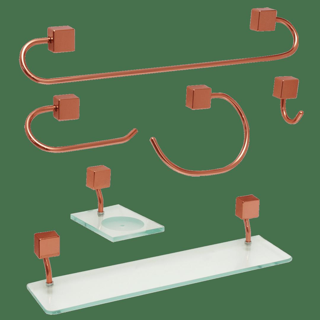 Kit para Banheiro Class Urbana 6 peças Quadrado Rose Gold