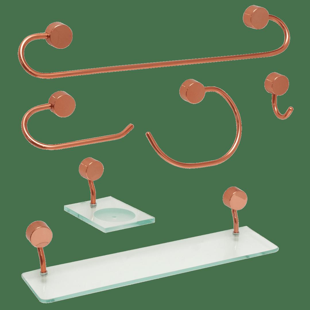 Kit para Banheiro Class Urbana 6 peças Redondo cor Rose Gold