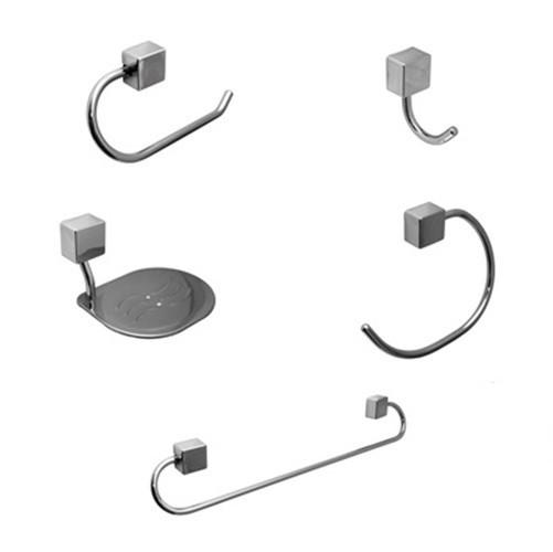 Kit para Banheiro de Metal Class com 5 peças Quadrado Cromado