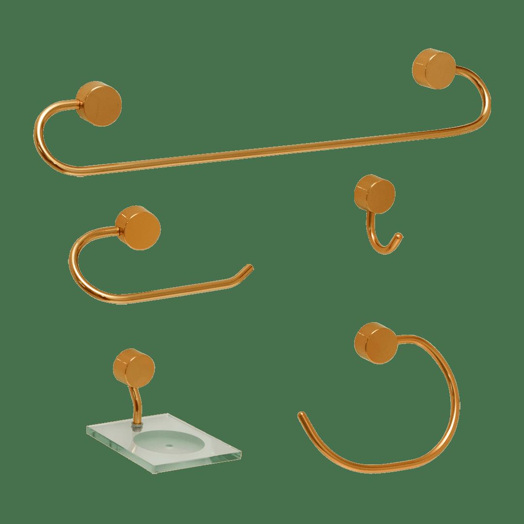Kit para Banheiro Dourado Class Urbana 5 peças Redondo Gold