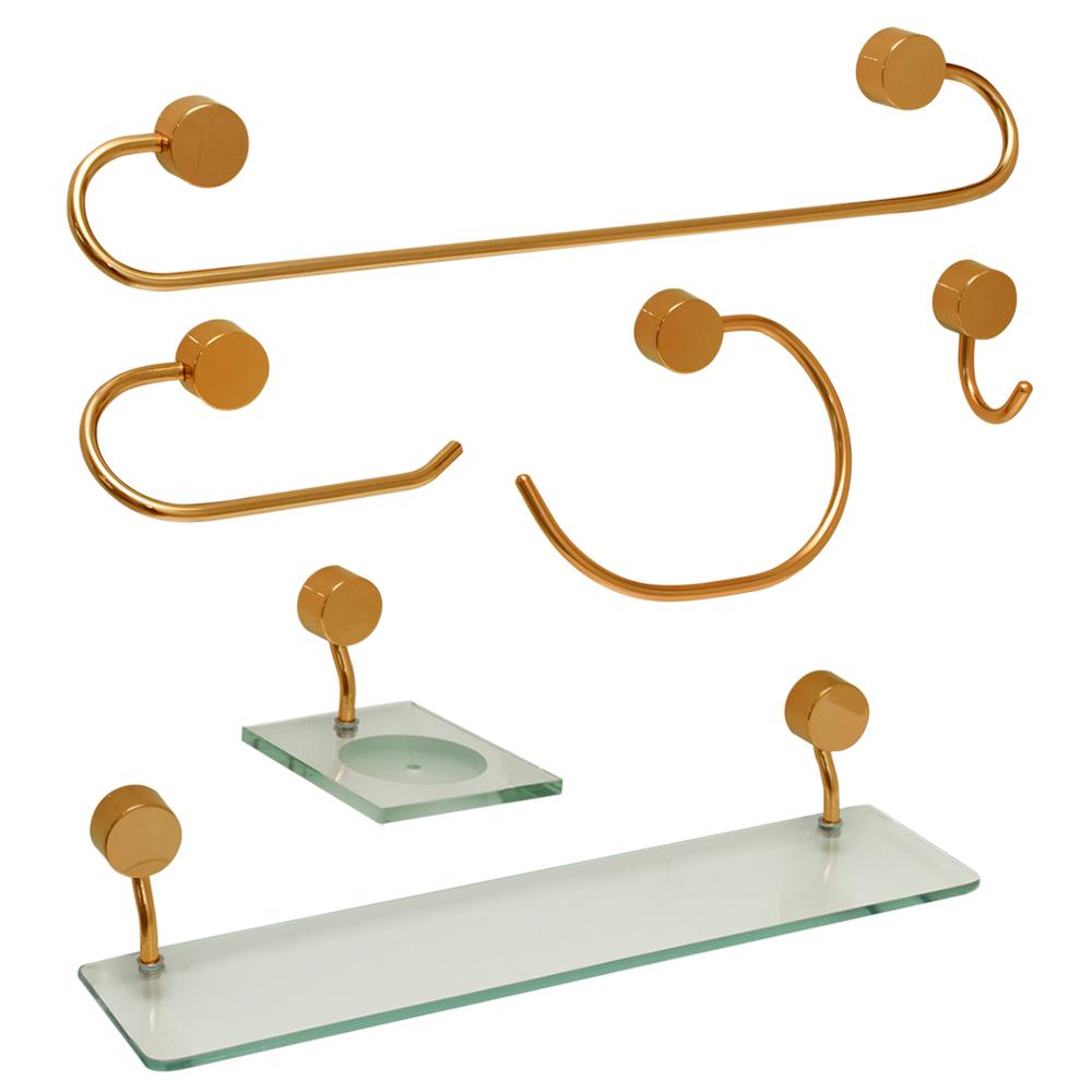 Kit para Banheiro Dourado Class Urbana 6 peças Redondo Gold