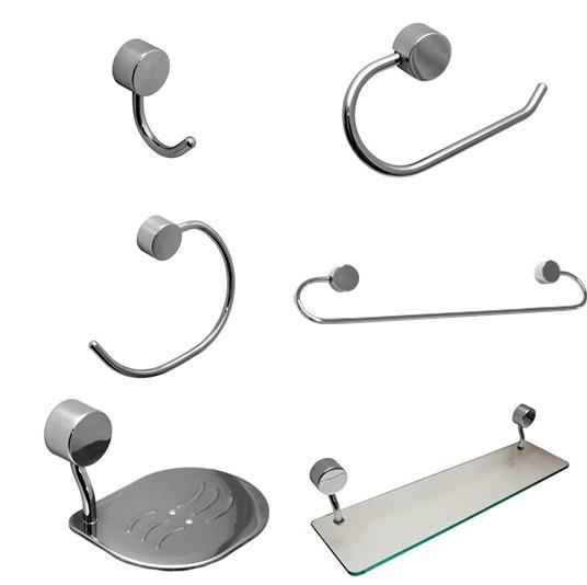 Kit para Banheiro Linha Class 6 peças Redondo Cromado com Porta-Shampoo de Vidro