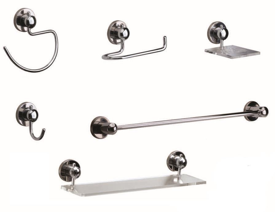 Kit para Banheiro Luxo 6 peças Suprema Metal e Vidro