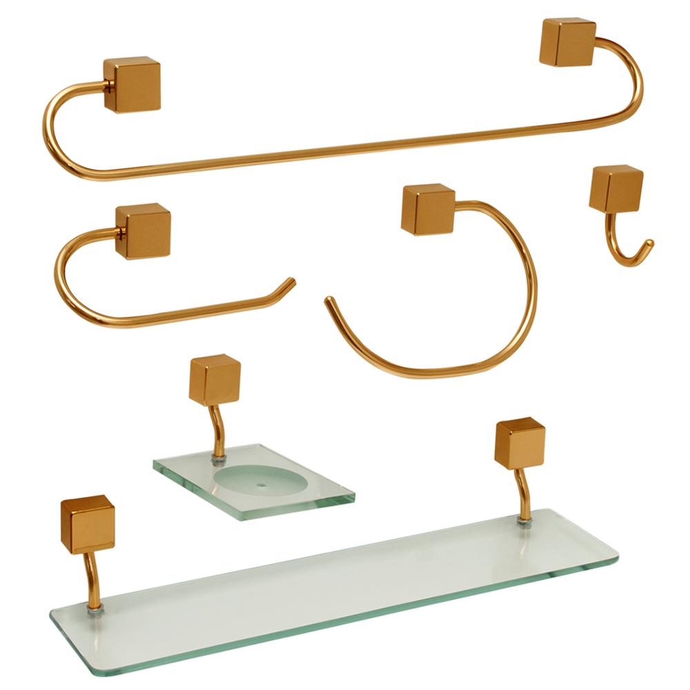 Kit para Banheiro Ouro Class Urbana 6 peças Quadrado Gold