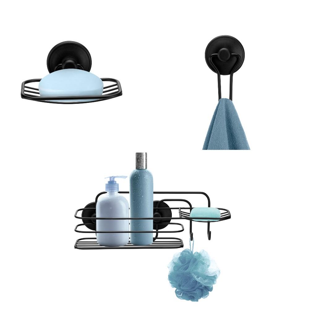 Kit para banheiro Preto com 3 peças Fixa com Adesivo Sem Furos