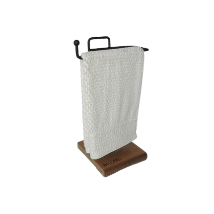 Papeleira Tripla de Chão + Porta Toalha de Rosto Para Bancada STEELWOOD Preto Fosco  com Pé de Madeira