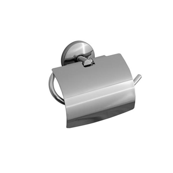 Porta Papel Higiênico com tampa de Inox Linha Steelo Acabamento Redondo