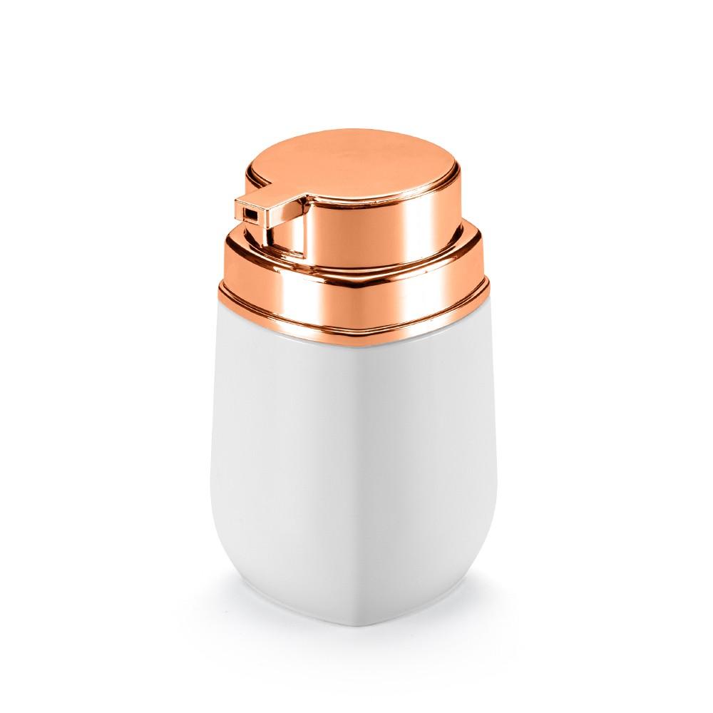 Porta Sabonete Líquido Branco e Rose Gold Linha Conceito