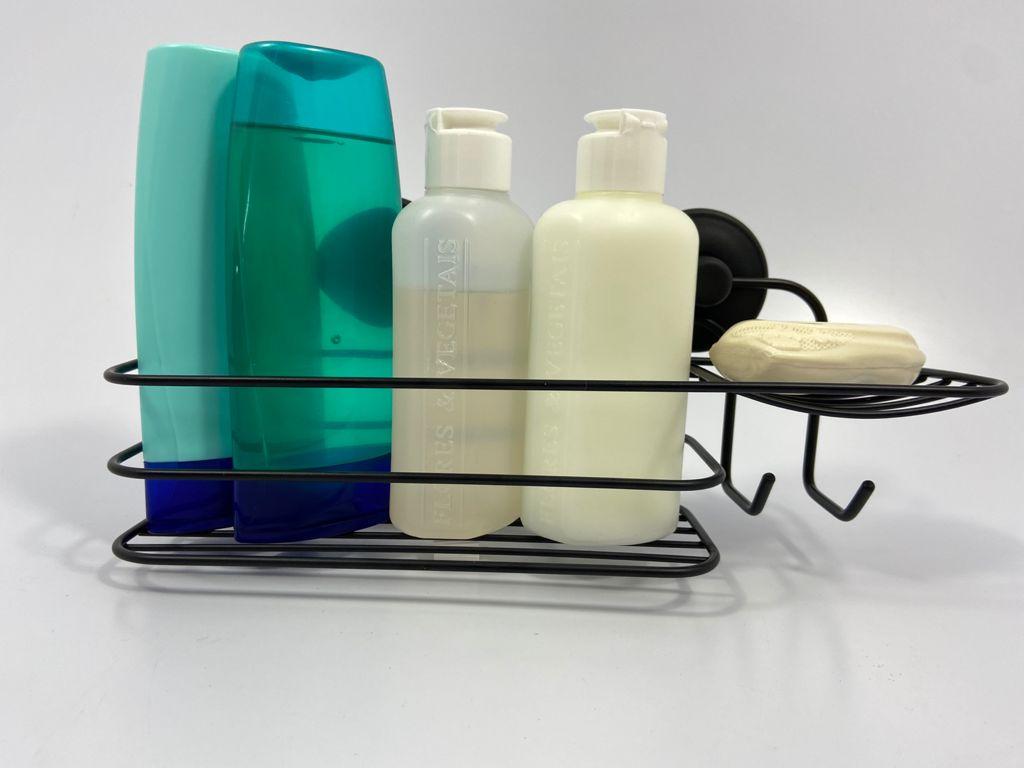 Porta Shampoo com Adesivo de Aço Black Sem Furos Fácil Instalação