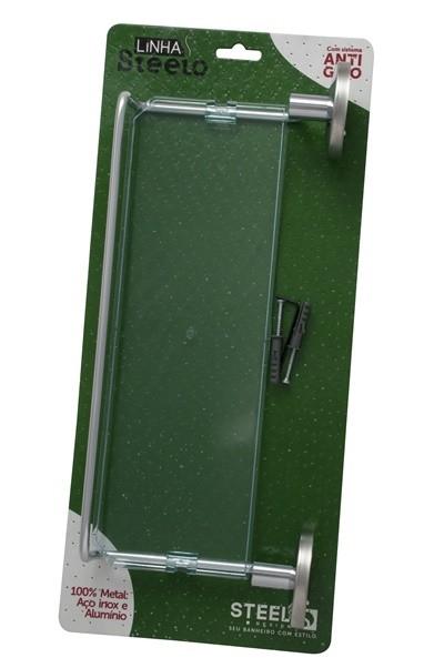 Porta Shampoo de 31 cm em Alumínio e Acrílico Steelo Redondo