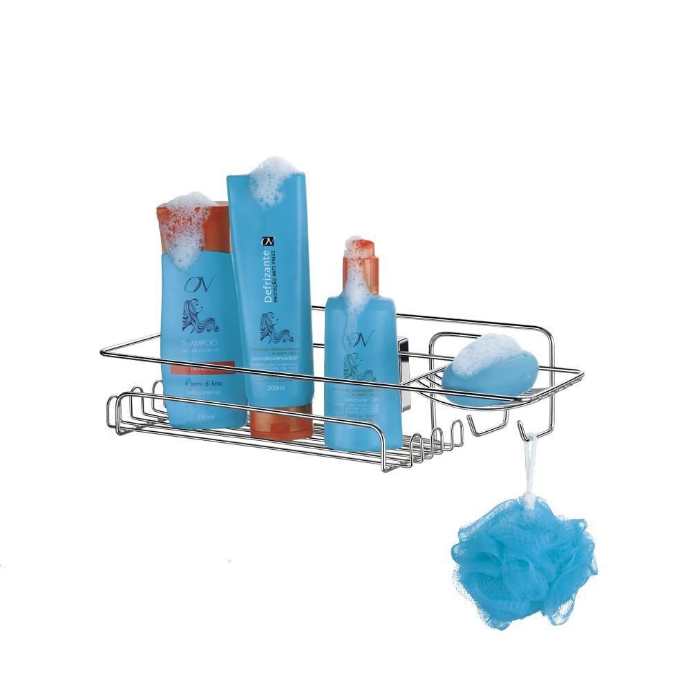 Porta Shampoo de Aço com Ventosa Fácil Instalação