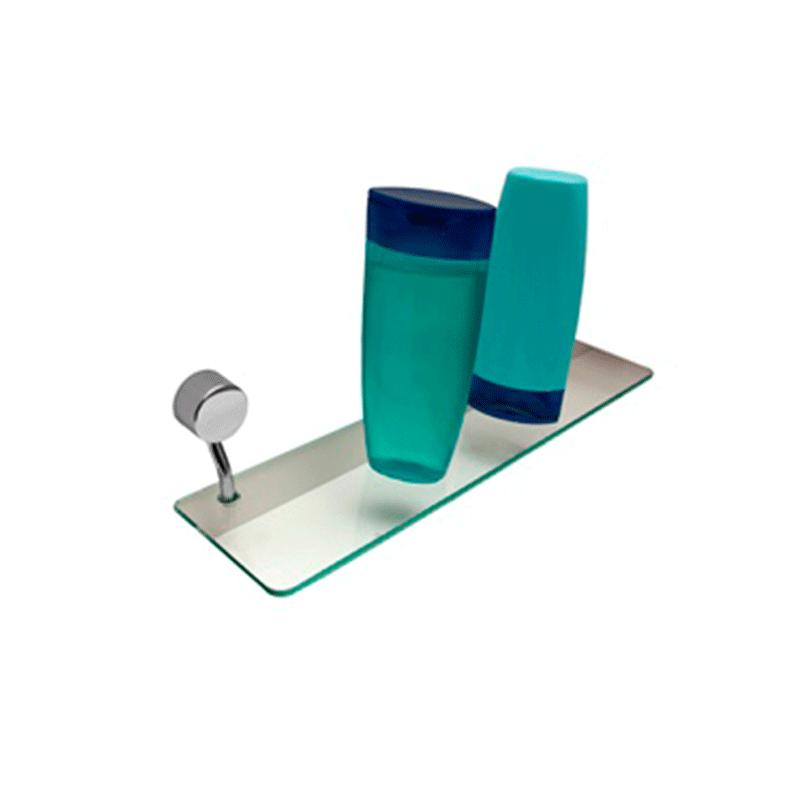 Porta Shampoo de Vidro 40 cm Linha Class Redondo Cromado