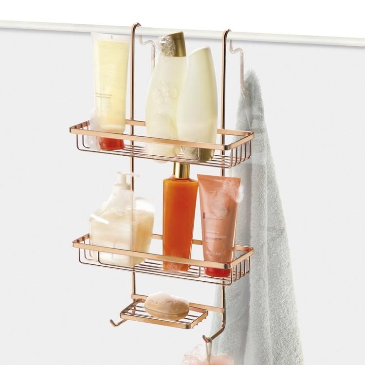 Porta Shampoo Duplo Para Pendurar no Box Rose Gold Com Porta Sabonete e Ganchos