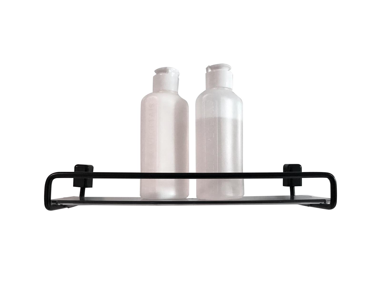 Porta Shampoo Preto com 31 cm de Alumínio e Acrílico Fumê Linha Città Black