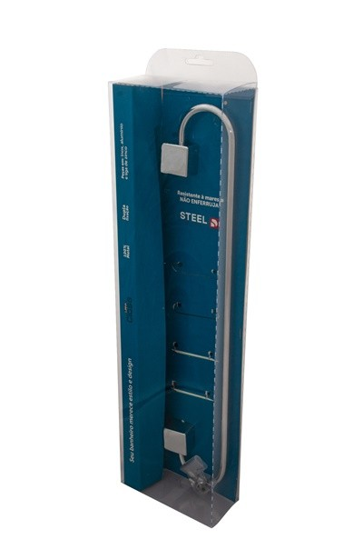 Porta Toalha de Banho 40 cm Linha Class Quadrado Cromado
