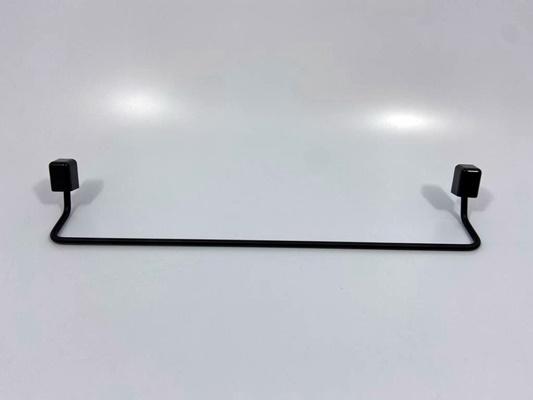 Porta Toalha Reto Preto com 43 cm de Alumínio Banhado Linha Città