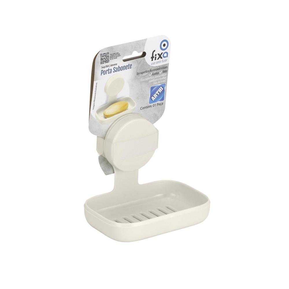Saboneteira com Ventosa para Banheiro OFF WHITE
