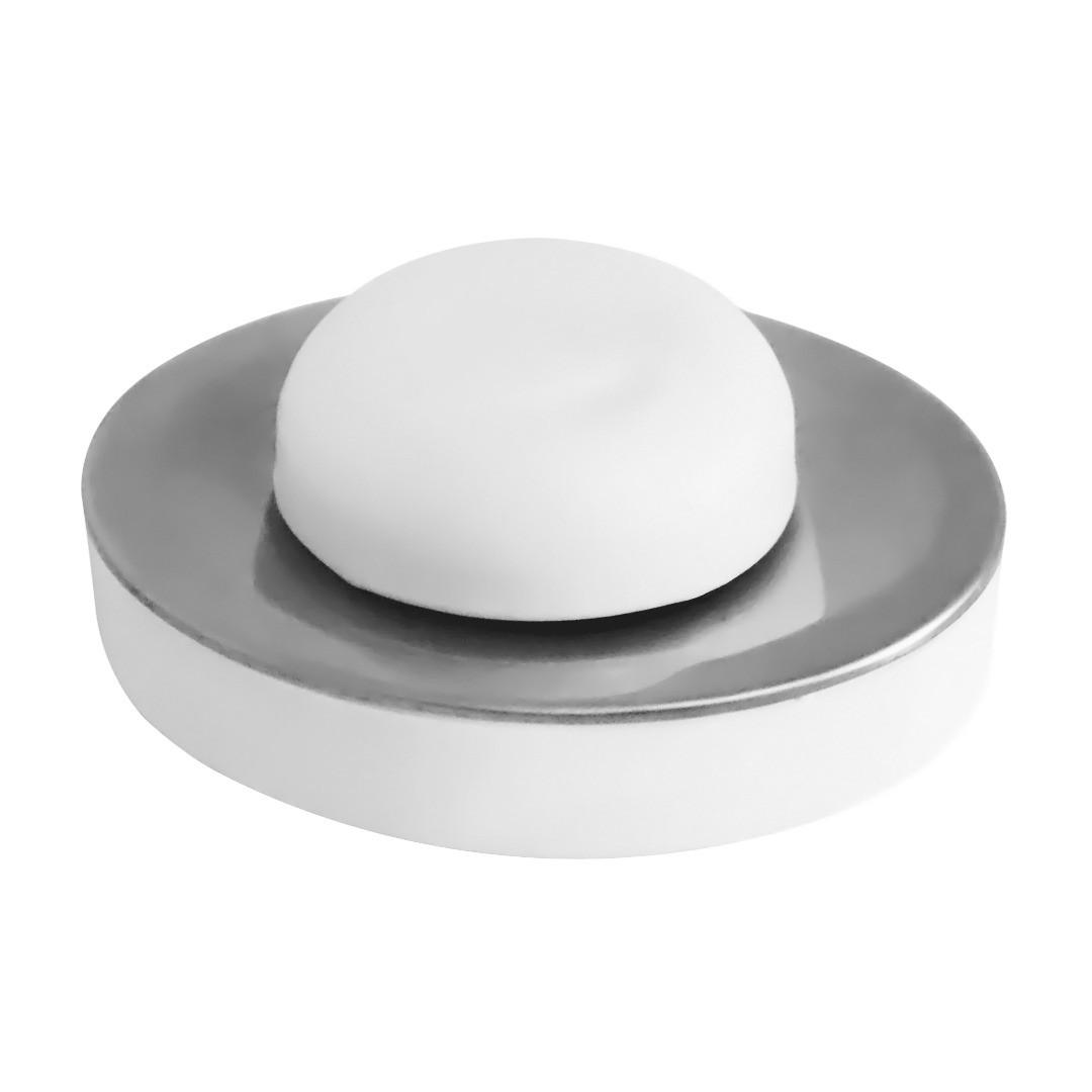 Saboneteira de Inox para bancada com reservatório PS Branco Pratic