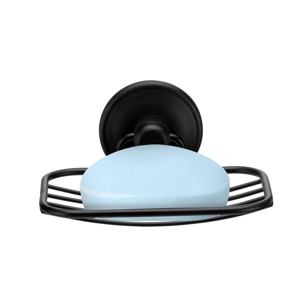 Saboneteira Preta Aramada com Fixa com Adesivo para Banheiro