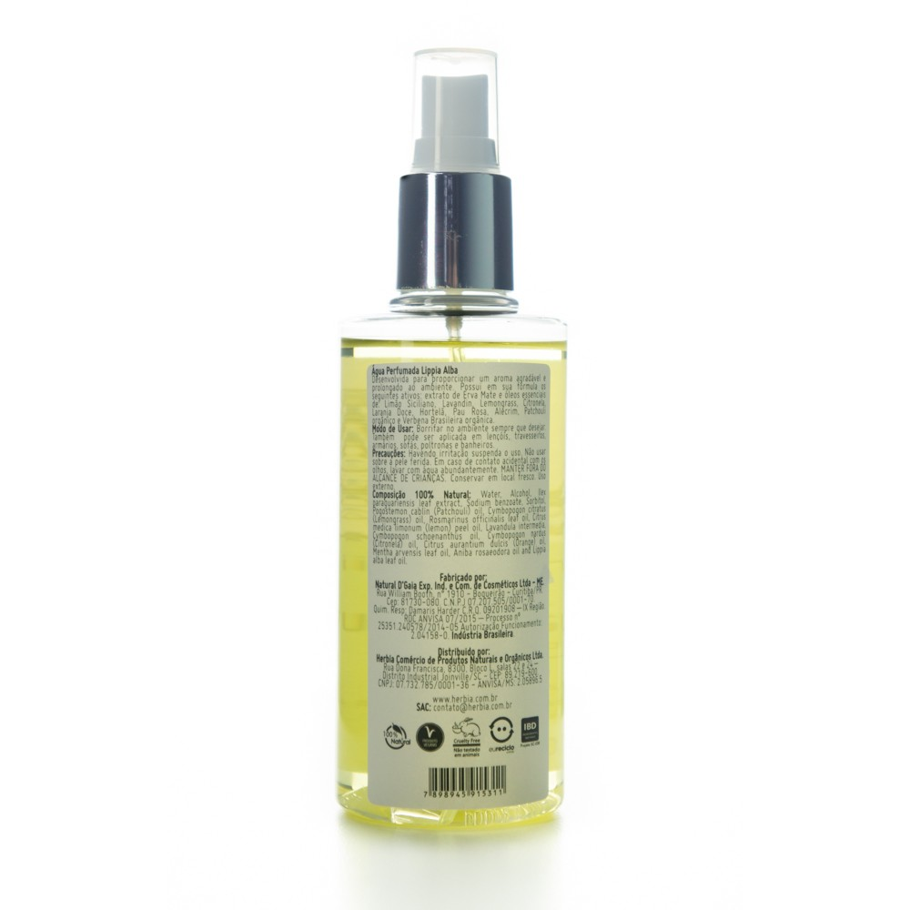 Água Perfumada Lippia Alba 200 ml Certificado IBD