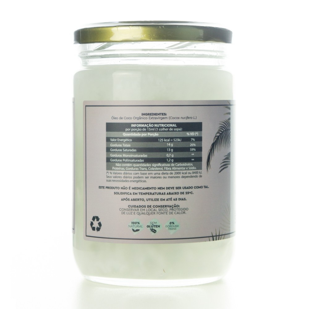 Óleo de Coco Orgânico Extravirgem Certificado EcoCert