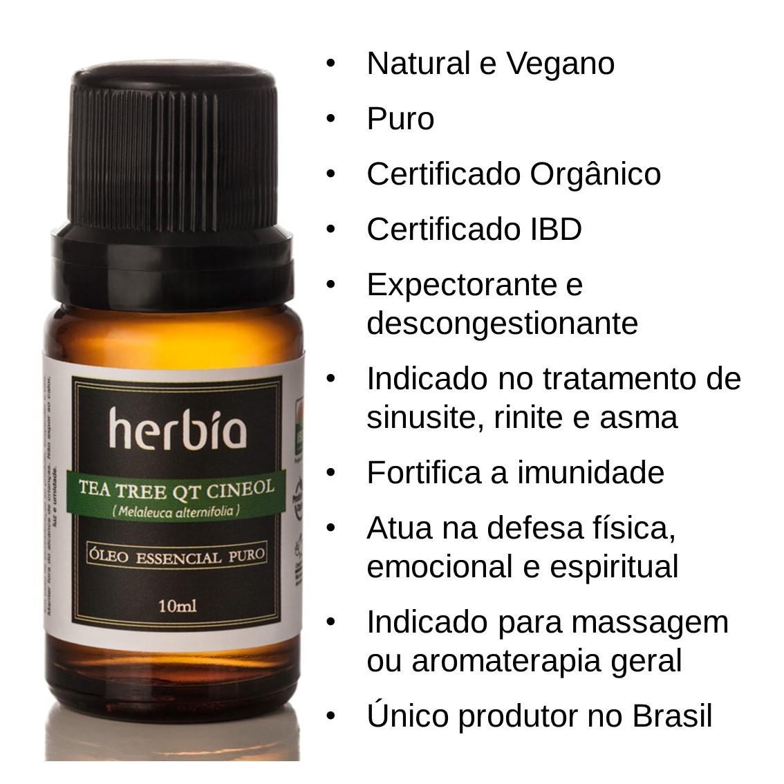 Óleo Essencial Orgânico de Tea tree (Melaleuca) QT Cineol