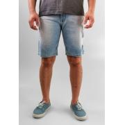 Bermuda King Joe Jeans Claro Com Detalhes Rasgados