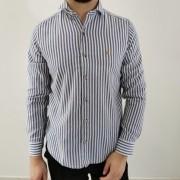 Camisa Baumgarten Slim Manga Longa Listrada Branca com Azul