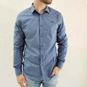 Camisa Colcci Slim Manga Longa Azul Listrada