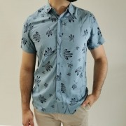 Camisa Pacific Blue Manga Curta Slim
