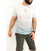 Camiseta Sakapraia Branca Floral Azul