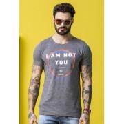 Camiseta Wolke Slim Cinza Mescla Estampada