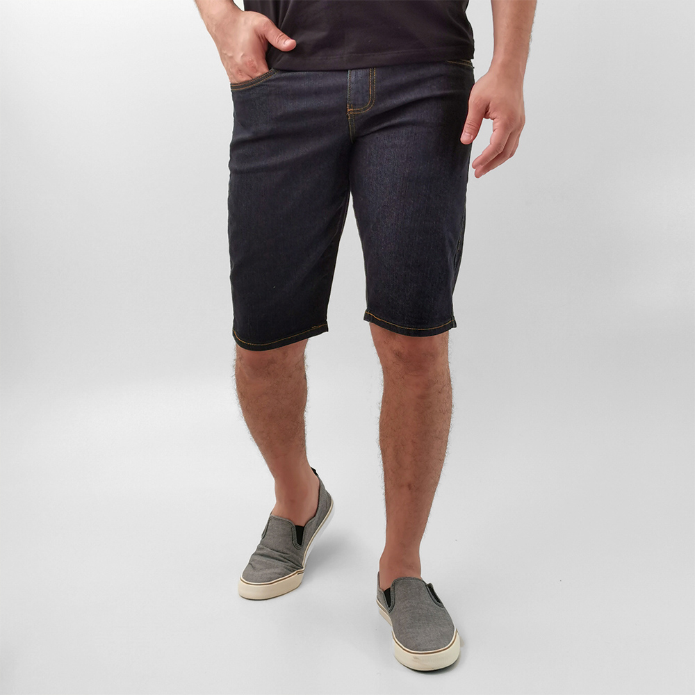 Bermuda K-DU Jeans Escuro Com Elastano