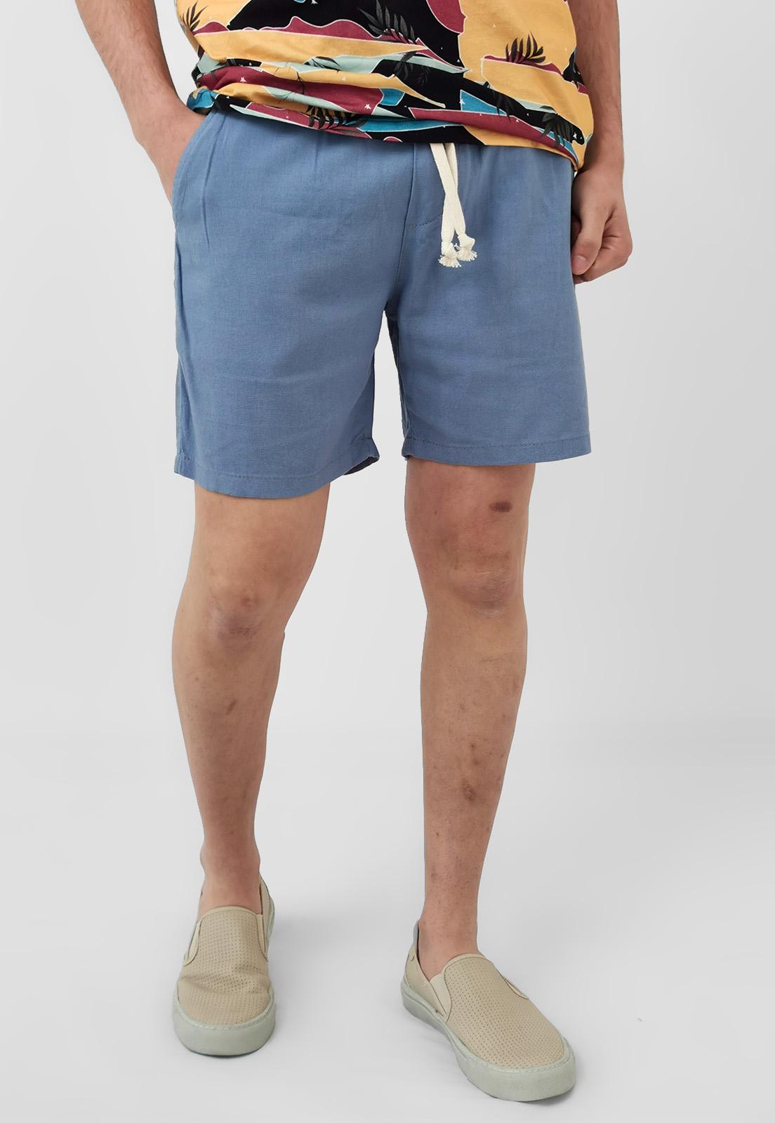 Bermuda Shorts Wolke Azul Com Linho