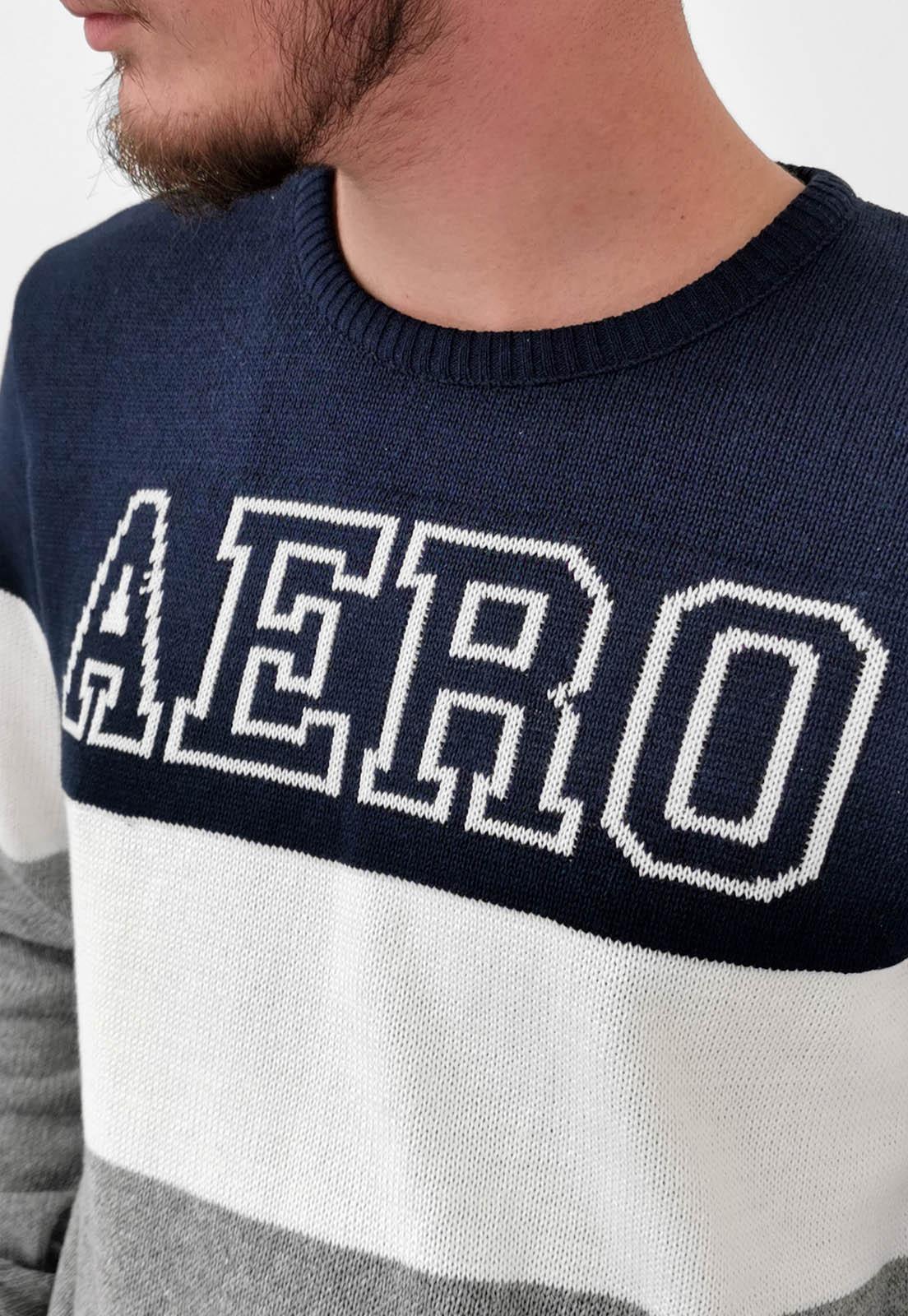 Blusa Aéropostale Tricô Azul Listas Logo