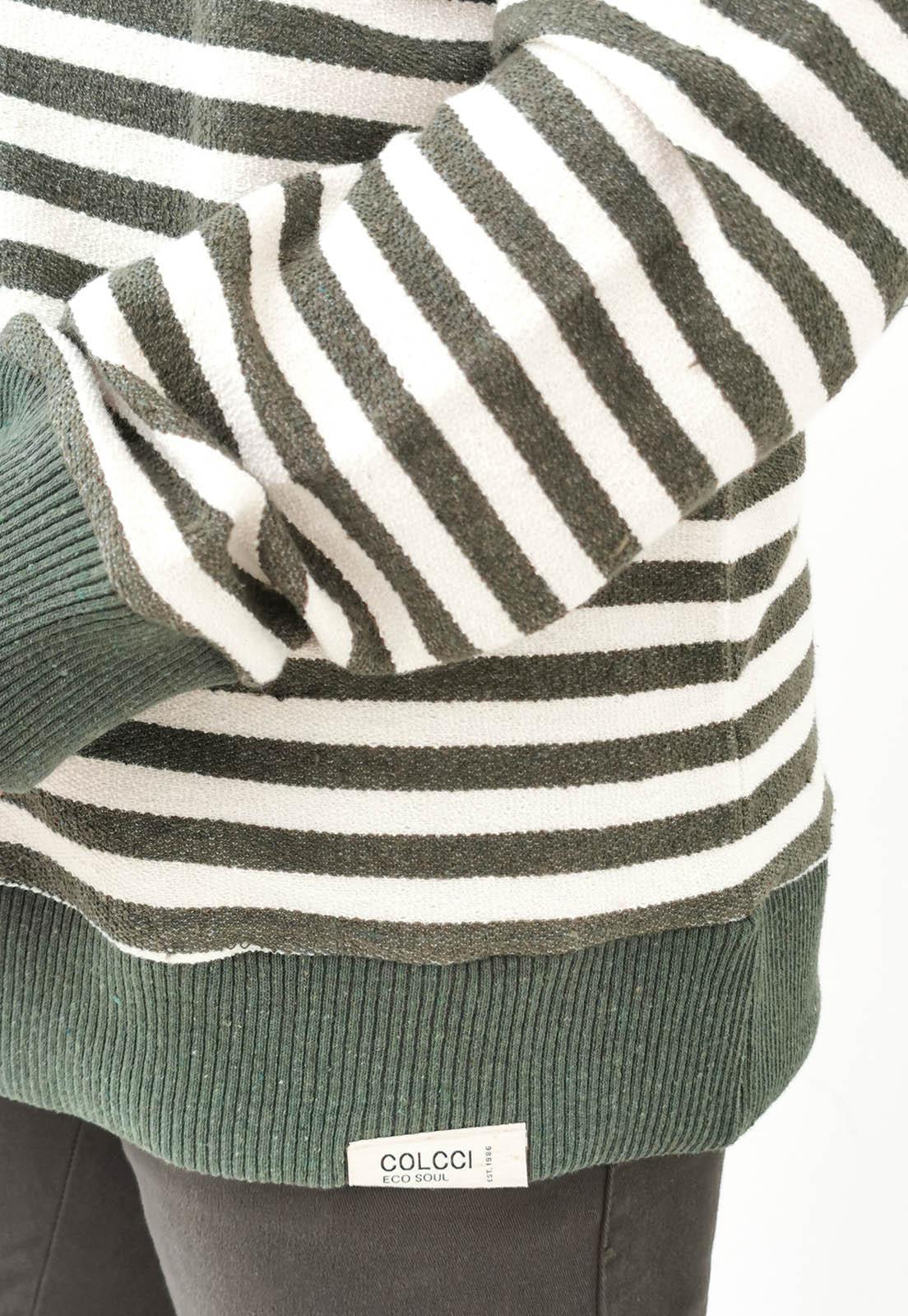 Blusa Colcci Listas Verde e Off White