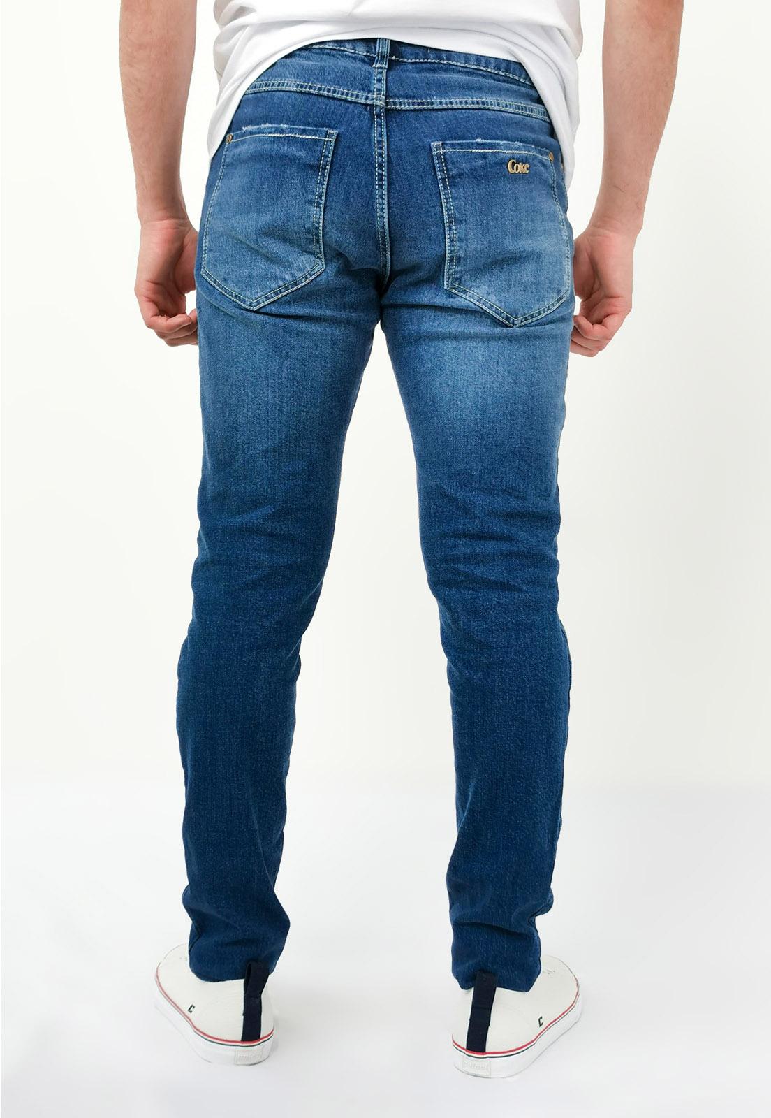 Calça Coca-Cola Jeans Rasgado Skinny Azul